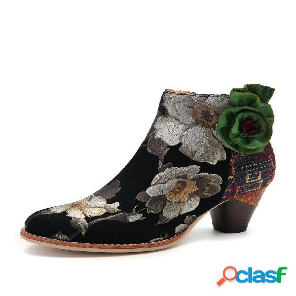 Socofy flor verde couro genuíno botas elegantes de salto alto com zíper de emenda