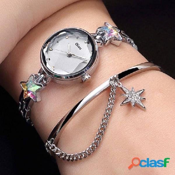 Trendy quartz wristwatch lucky star pingente relógio de aço inoxidável relógio de corte de vidro redondo