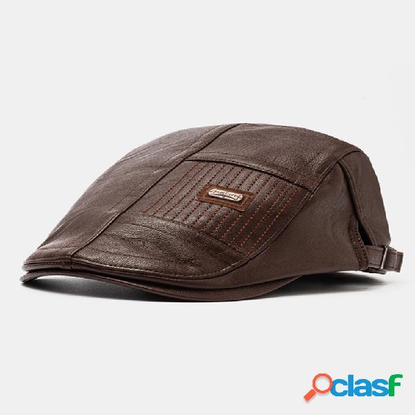Boina masculina de couro sintético chapéu casual boné de jornal boné quente e plano