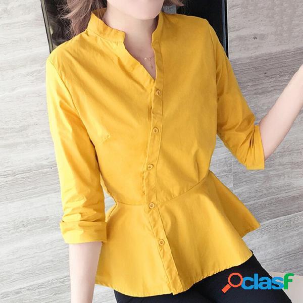 Camisa outono das mulheres 2019 novo han fan solto outono branco moda mangas temperamento camisa era fino camisa