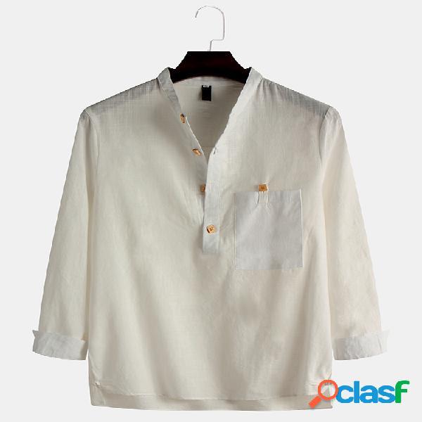 Camisas masculinas de linho de algodão estilo nacional respirável manga longa slim fit henley