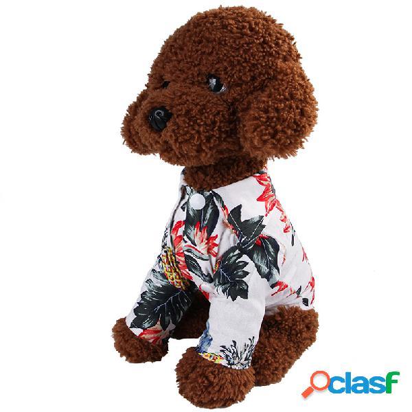 Algodão impresso camisa teddy chai pequeno e médio cachorro roupas pet
