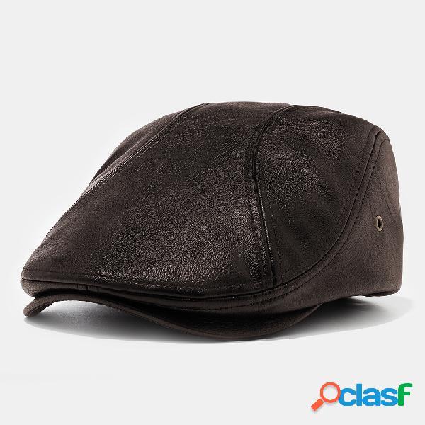 Boina de couro dos homens chapéus bonés planos casuais com furos para ventilação lvy chapéus