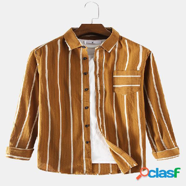 Camisas casuais de manga comprida com estampa masculina de listras no peito