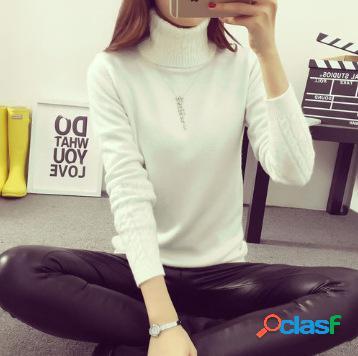 Camisola de gola alta de mangas compridas para mulher camisa