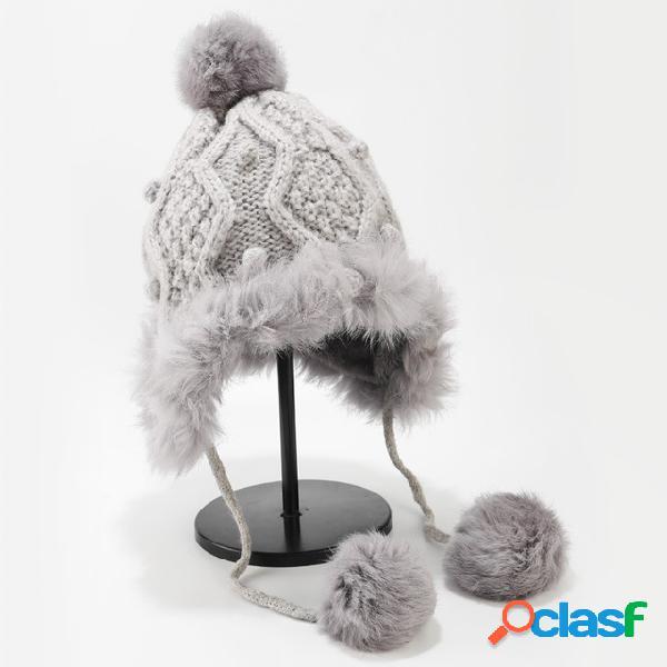 Pom pom decor cuffed knit beanie earmuffs quentes chapéu lã bonito cabelo bola ao ar livre quente
