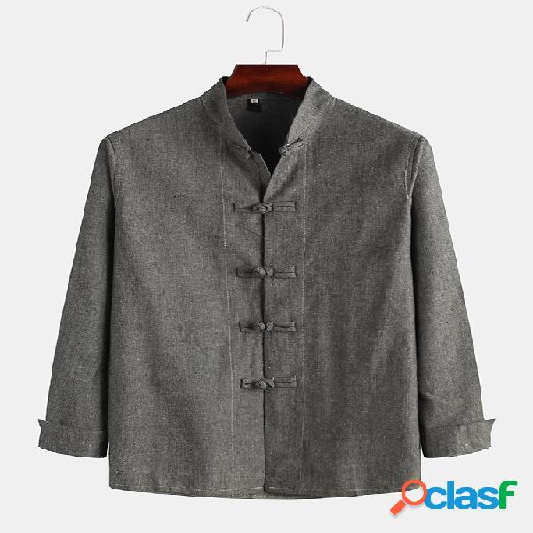 Mens estilo chinês de algodão de linho respirável manga comprida slim fit jaquetas finas