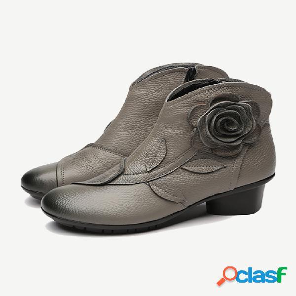 Mulheres folkways flowers couro genuíno botas curtas de salto grosso