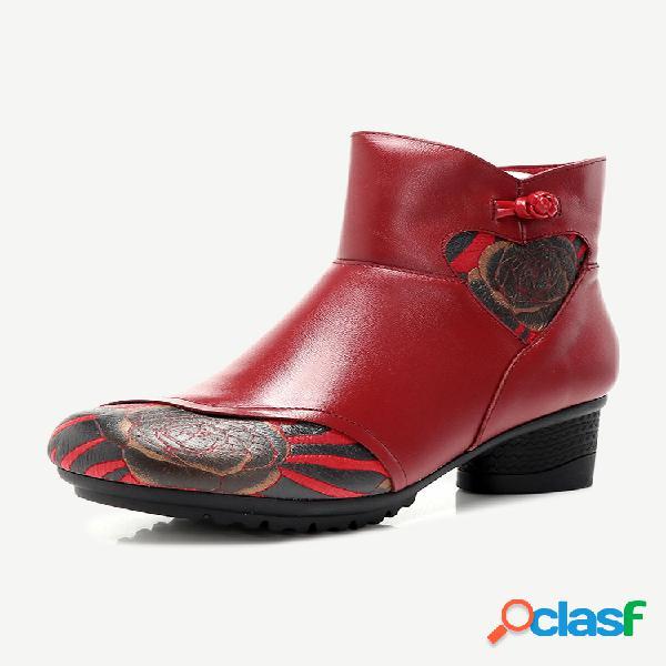 Couro genuíno botas curtas casuais com impressão vintage de salto baixo