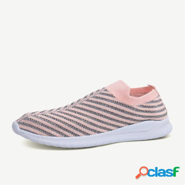 Malha leve de corrida feminina de tamanho grande soft sapatos de meia elástica