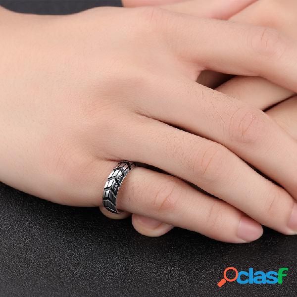 Trendy car tire print anel para homens anel de dedo de aço de titânio anel de cauda punk jewelry