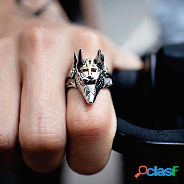 Anel de aço de titânio dos homens geométricos na moda anubis deus anel de cabeça de lobo antigo