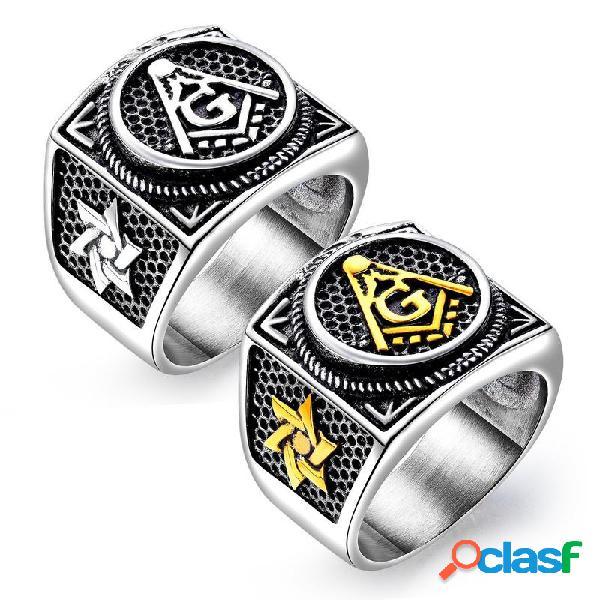 Anel dos homens de aço de titânio do vintage anel de dedo redondo estereoscópico geométrico punk jewelry