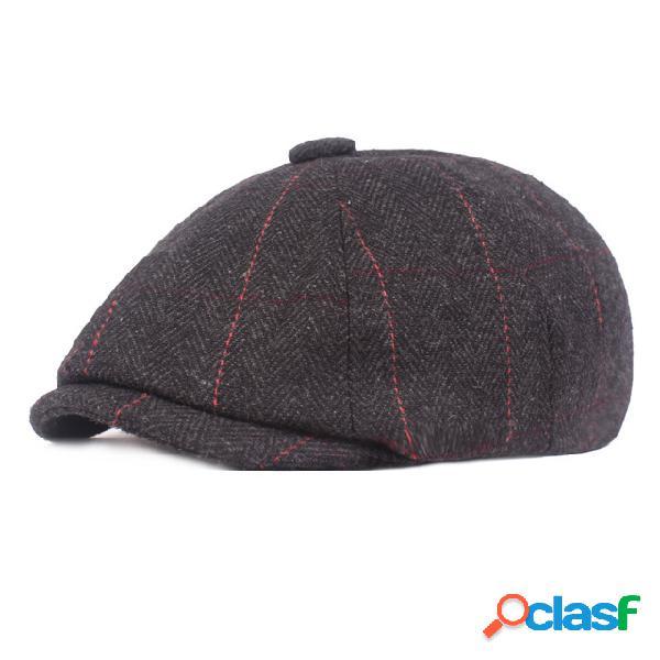 Boné octogonal para homens Estação boina de lã Newsboy hat