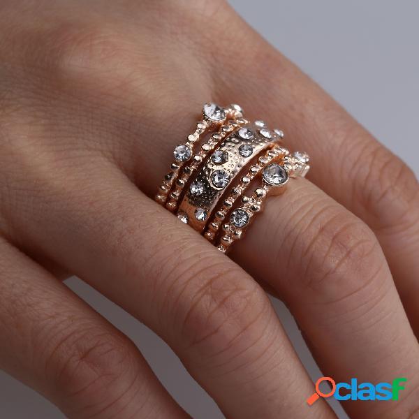 Conjunto de anel empilhável de ouro rosa vintage anel de embutimento de strass geométrico de metal jóias chiques
