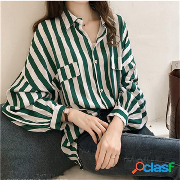 Fundo solto Camisa Camisa listrado na seção longa Camisa de mangas compridas mulheres