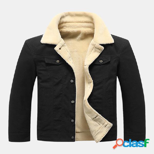 Jaquetas casuais de manga comprida masculinas com bolsos lisos gola virada para baixo engrossar