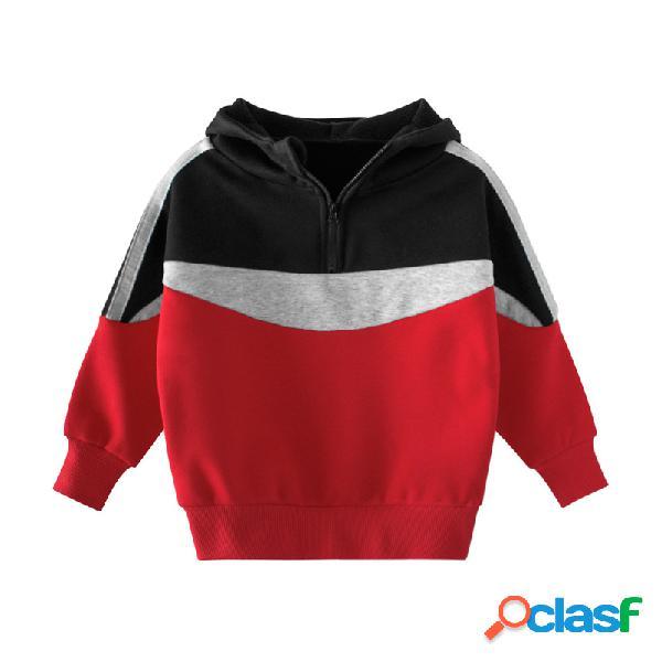 Meninos e meninas da criança plus veludo patchwork pullover mangas compridas hoodies para 2-11a