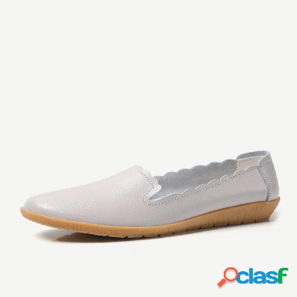 Mocassins pretos de couro liso cor sólida sapatos casuais