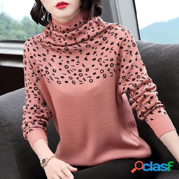 Camisola moda feminina assentamento mãe de meia idade pilha solta pilha gola camisola camisola tamanho grande
