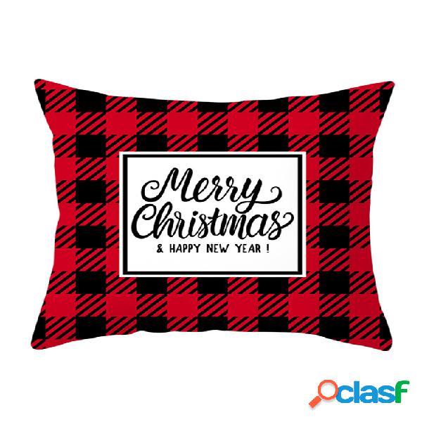 Travesseiro decorativo de inverno preto e vermelho estilo britânico série caso sofá doméstico decoração de natal