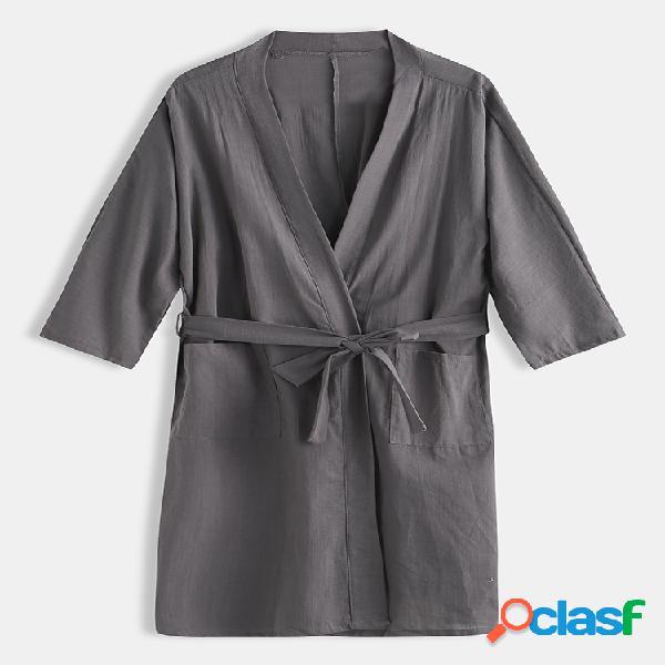 Robe masculino de linho liso liso roupão de banho solto respirável com cordão e bolsos