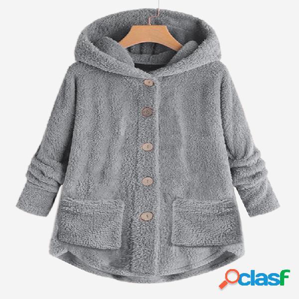 Casacos casuais de cor sólida com botões de manga comprida em lã com capuz