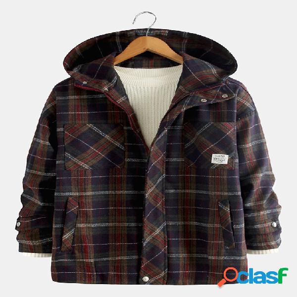 Casacos de lã mesclados masculinos de mangas compridas, múltiplos bolsos casacos casuais