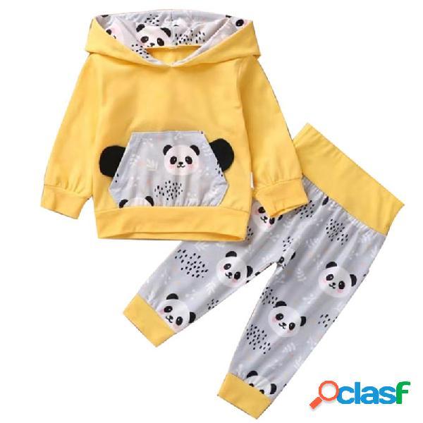 Conjunto casual de mangas compridas com capuz para bebê panda para 0-24m
