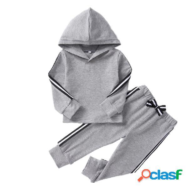 Algodão de menina e menino soft mangas compridas com capuz listradas casuais definidas para 1-7a