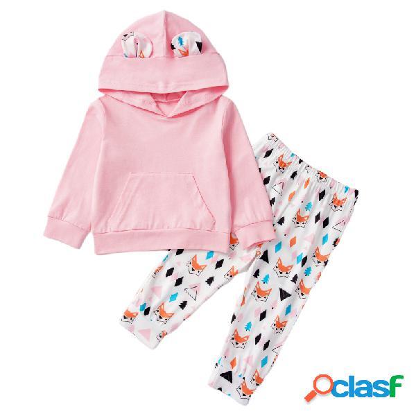 Animal dos desenhos animados da menina impressão com capuz mangas compridas conjunto de roupas casuais para 1-7a