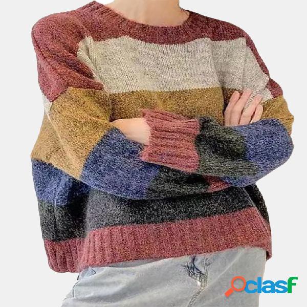 Casual contraste cor manga longa gola camisola para as mulheres