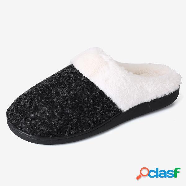 Mulheres dedo do pé fechado preto antiderrapante chinelos em casa forro de pelúcia quente
