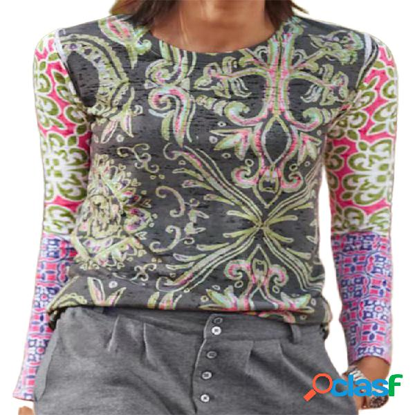 Blusa com estampa casual flor gola manga comprida