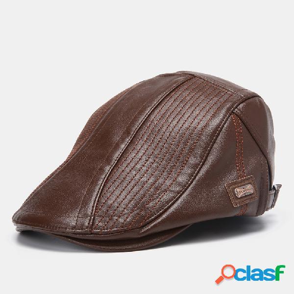 Boina de couro masculino chapéu casual boné jornal chapéus com textura de agulha e boné plano