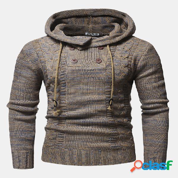Mens impressão étnica double breasted tricô quente manga comprida camisolas com capuz