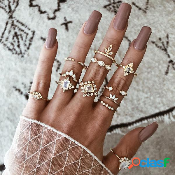 Anel de diamante quadrado de gota de água geométrica de luxo conjunto de anel de metal exagerado de metal vintage
