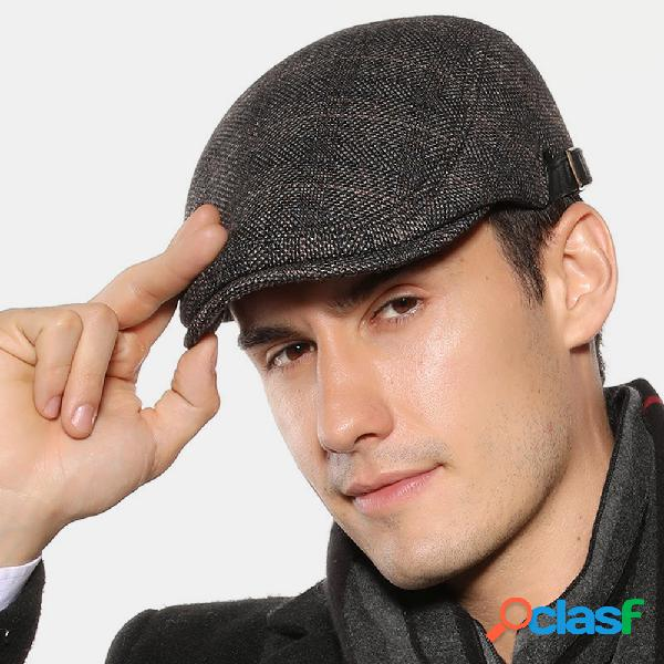 Boina masculina boné xadrez britânico masculino exterior casual chapéu feltro ajustável