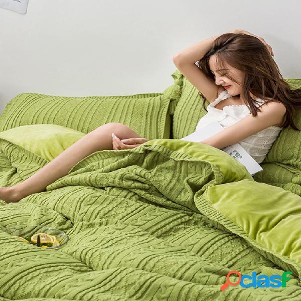 Conjunto de roupa de cama de lã de tricô com 4 unidades thicken ab lado ab winter soft fronha de capa de edredom tamanho king size