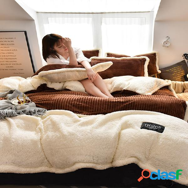 Conjunto de roupa de cama de lã de veludo de veludo cotelê 4 peças ab com lado ab, lado ab, fronha de edredom tamanho king