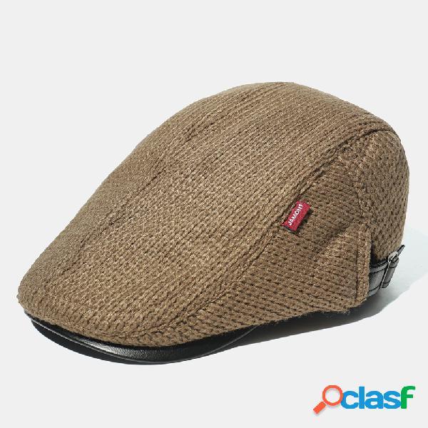 Boné de malha masculino chapéu boné de boina acolchoado casual viseira externa para frente chapéus
