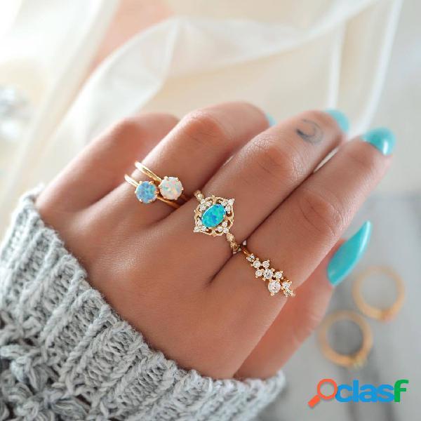 Conjunto de anéis de diamante com opala colorida boêmia anéis de diamante geométrico de metal joias chiques