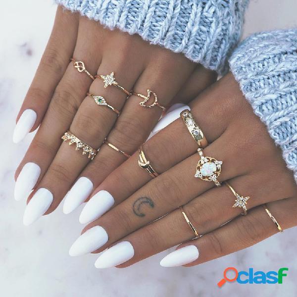 Conjunto de anéis de strass opala coroa vintage anéis de metal oco pêssego coração estrela lua conjunta