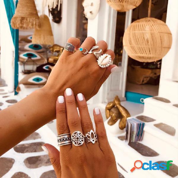 Conjunto de anéis incrustados de conchas naturais boêmios anel de abertura da lua do vintage anel de flores ocas