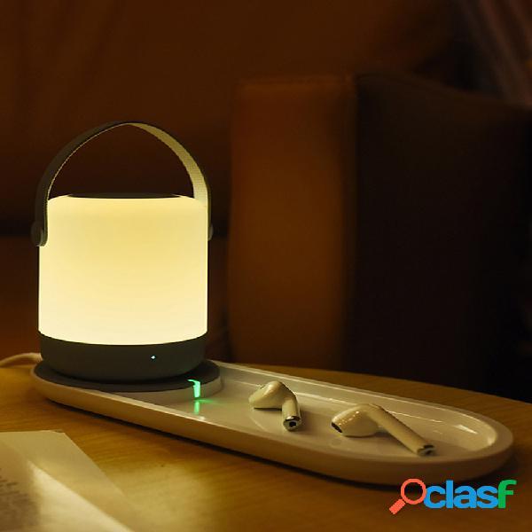 Portátil led usb night light touch operação suporte 10w qi wireless charging home decor night light