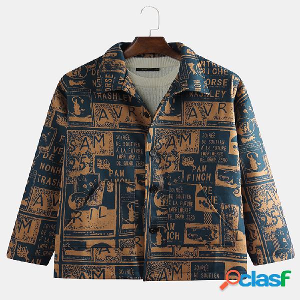 Mens vintage letters printing manga comprida solta botões casacos casacos casuais