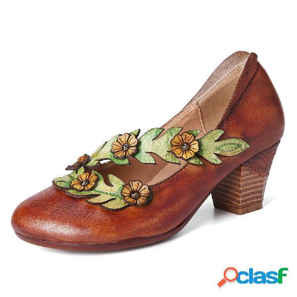 Socofy retro boca rasa linda girassol cinta videira sapatos de couro de salto alto redondo