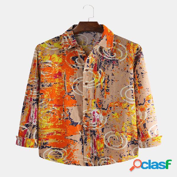 Homens algodão linho étnico floral impresso casual magro camisa