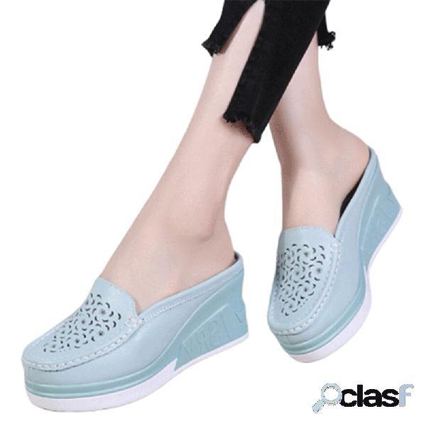 Mulheres padrão chinelos de couro oco plataforma confortável respirável sem encosto
