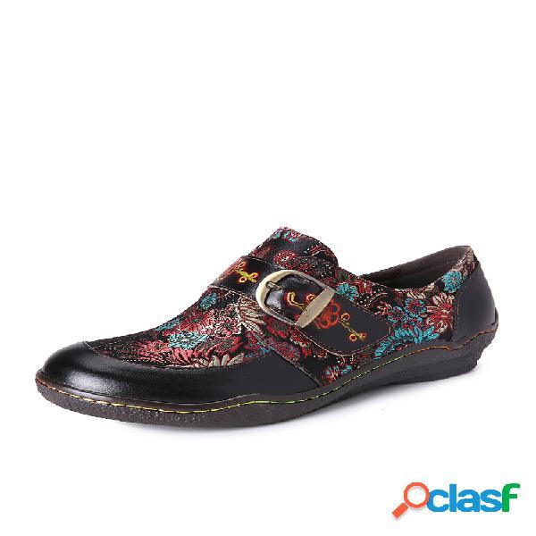 Socofy bordado retrô costura flor couro em relevo flor de ameixa deslizante fivela em sapatos baixos